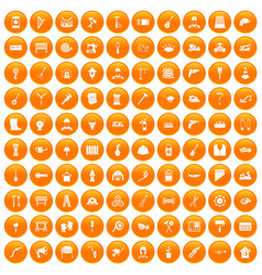 100 tools icons set orange vector