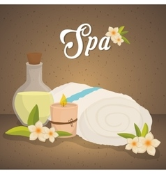 Candle and towel icon spa center design vector