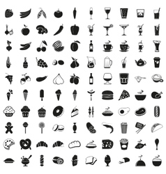 Elegant food and drink icons set vector