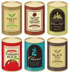 tin can with label of various canned foods vector image
