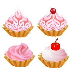A set of pink cake vector