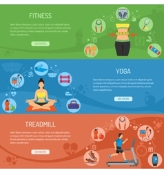 Yoga and Fitness Horizontal Banners vector image