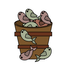 fish bucket multiplication religion vector image