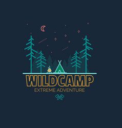 stay wild camping child hand drawn t shirt print vector image