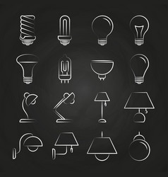 hand drawn lamp icons collection vector image