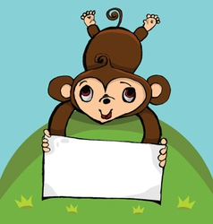 Monkey with blank sign with copy space vector