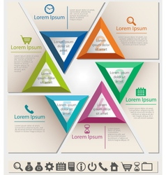 Business infographic chart template six triangle vector