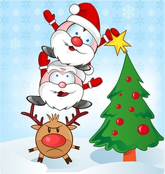 Santa claus whit reindeer cartoon vector