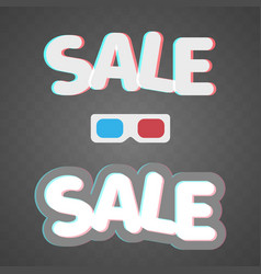 3d effect anaglyph of sale icons on transparent vector image vector image