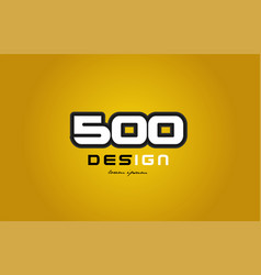 500 number numeral digit white on yellow vector