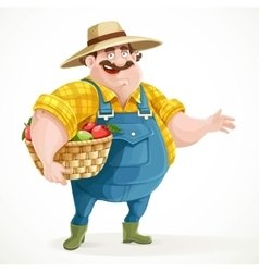 Fat farmer in overalls holding a basket of apples vector