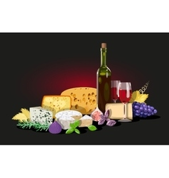 Wine and cheese composition vector