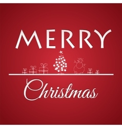 Christmas greeting card on red background vector