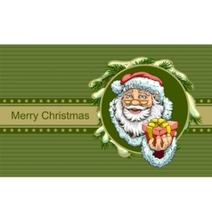 Santa claus holding box with gift christmas vector