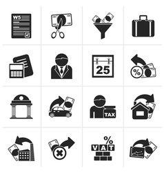 Black taxes business and finance icons vector