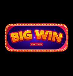 Big win banner for online casino poker roulette vector
