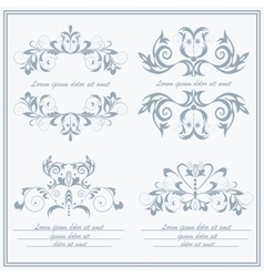 Set elements flower logos baroque style vector