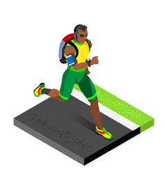 Marathon runners gym working out isometric image vector