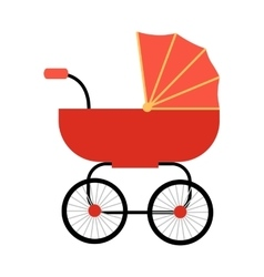 Classic baby carriage in flat design vector