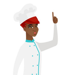 African chef with open mouth pointing finger up vector