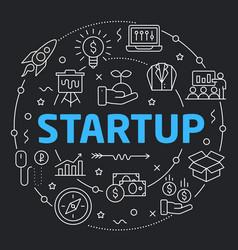 Black line flat circle startup vector