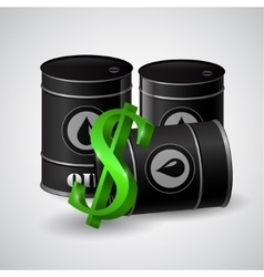 black oil barrel and the sign of dollar vector image vector image