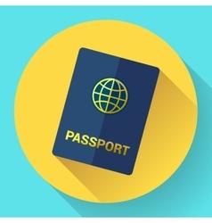 Blue international passport with globe vector