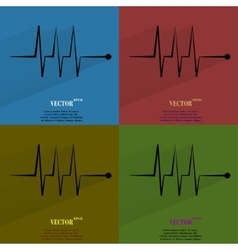 Color set heart rhythm Flat modern web button with vector image