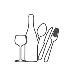 Figure wine bottle glass and cutlery icon vector