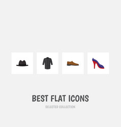 Flat icon dress set of panama uniform heeled vector