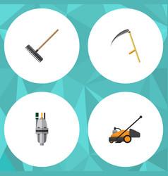 Flat icon garden set of harrow lawn mower cutter vector