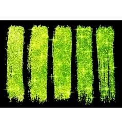 Green glitter brush strokes set isolated at black vector
