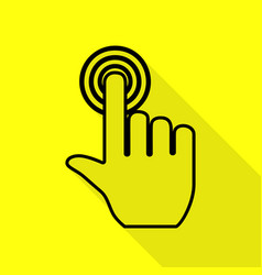 Hand click on button black icon with flat style vector