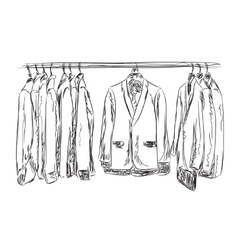 Hand drawn wardrobe sketch Mans dresscode suit vector image