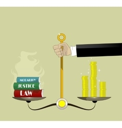Hand holding justice scales with money and law vector image