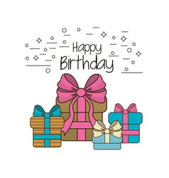 Happy birthday gifts present with ribbon vector
