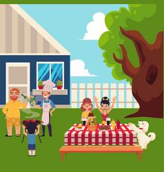 Happy family having bbq picnic in the yard vector