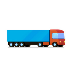 Isolated red truck with blue cargo trailer vector