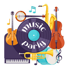 jazz music party retro background with musical vector image