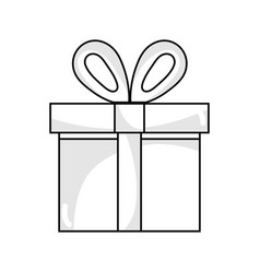 Line present gift box with ribbon decoration vector