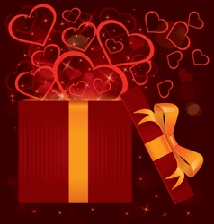 Magic light gift box hearts vector image