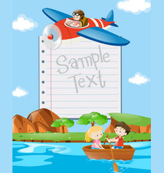 Paper template with kids in boat and plane vector