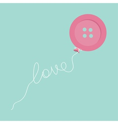 Pink button balloon love thread card flat design vector