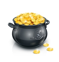 pot with gold coin for vector image vector image