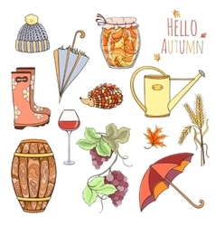 Set of autumn elements vector image
