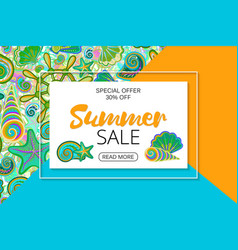 Summer sale banners on bright seamless background vector