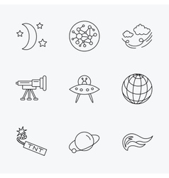 Ufo planet and telescope icons global network vector