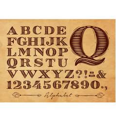 Vintage alphabet kraft vector