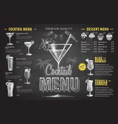 vintage chalk drawing cocktail menu design vector image vector image