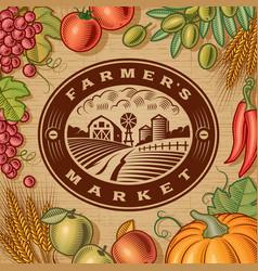 Vintage Farmers Market Label vector image vector image